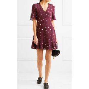 Madewell Silk Star Print Faux Wrap Dress